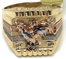 GOLD 14k Mens Ring rooster tri real solid Simulated Diamond 11 9 10 12 13 10.8g