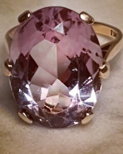 ❤️ Exquisite Enormous Art Deco 9ct 375 Gold Solitaire Natural Amethyst Ring ❤️
