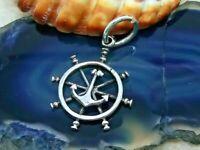 Anker Steuerrad Anhänger 925 Silber Schiff Rockabilly Maritim anchor pendant