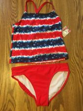 NWT Op Girls Tankini  Red White Blue Swimsuit Size S 6- 6X Stars Stripes UFP 50