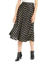 Alfani Women's Pleated Metallic-Stripe A-line Skirt (Black, Size 10)