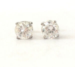 Stunning 925 Sterling Silver Butterfly Back Clear CZ Bling Stud Vintage Retro 2g