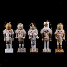 5x Wooden 12cm Nutcracker Solider Figures Model Puppet Doll Decor