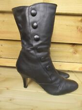 Victorian style black leather Clark's boots button detail goth steampunk 6 1/2