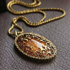 Fashion Women Gold Color Chain Amber Stone Pendant Necklace Statement Jewelry