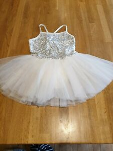 Girls White Sparkly Sequined Tutu Age 7-8 excellent Condition