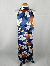 Ladies Dress Size 18 MINT VELVET Blue Satin Midi Backless Party Evening