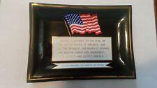 New listing Smoked Glass Pledge of Allegiance, U.S.A. Flag Glass Change Tray/ Trinket Tray