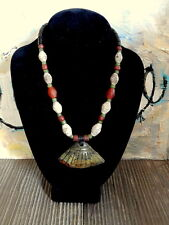 Trade Bead necklace w  Ancient Hand Made Pendant from N. China