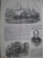 Missing steamship  SS Forth and wreck of the Newcastle Whitby 1849 print my rf T