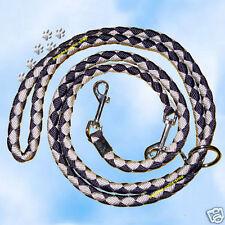 Hundeleine rundgeflochten 3-fach verstellbar, schwarz-silber, 2 Meter, 12 mm
