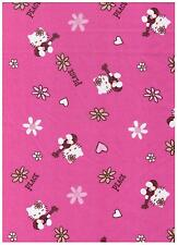 Hello Kitty Pink Peace & Guitars by David Textiles bty PRICE REDUCED