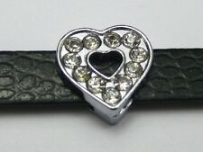 50 Rhinestone Love Heart Slide Beads Charm Fit 8mm Watch Bands Wristband​s