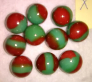 Marble King 10 5/8 WATERMELON GREEN & RED NICE