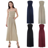 Womens Strapless Maxi Dress Ladies Tube Bandeau Solid Color Casual Beach Dress
