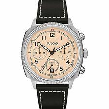 Bulova Chronograph Beige Dial SS Black Leather Quartz Mens Watch 96B231 No Box