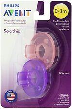 Philips 2 Pack Avent Soothie Chupete, Rosa/Púrpura, 0-3 meses