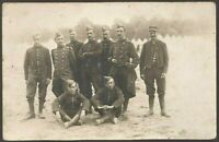 WW1 SOLDIERS PLATOON FRENCH ARMY MILITARY WAR ANTIQUE PHOTO RPPC POSTCARD