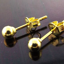 STUD EARRINGS GENUINE REAL 18K YELLOW G/F GOLD SMALL BEAD BALL UNISEX DESIGN