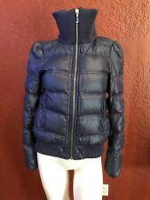 JUICY COUTURE PUFFER JACKET BLUE FRONT ZIP, KNIT NECKLINE & WAISTBAND SIZE S