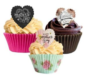 12 Ready To Use Heart Shaped Mothers Day Edible Cupcake Decorations Toppers