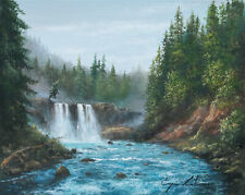 J. Litvinas Original Oil Painting 'WATERFALL' 10 by 8 inches