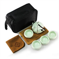 Portable Tea Set - Teapot Cups  Chinese / Japanese  Wooden Tray Travel Bag