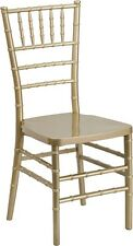 10 PACK Gold Resin Stackable Chiavari Chair FREE Gold Vinyl Seat Cushions