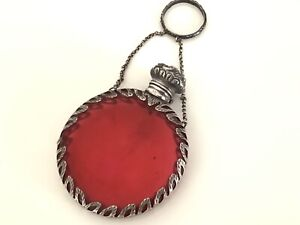 Fine antique Victorian cranberry silver chatelaine perfume/scent bottle.