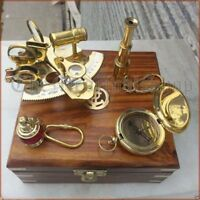 VINTAGE MARITIME COMPASS/TELESCOPE/SEXTANT W/WOODEN BOX NAUTICAL BRASS GIFT SET