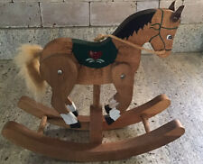 Vintage Hand Painted Rocking Horse Pole Mounted Leather Ears Bushy Tail 11x9.5""