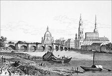 GERMANY (Saxony)- DRESDEN, THE BRIDGE OF AUGUSTUS on the ELBE - Engraving 19th c