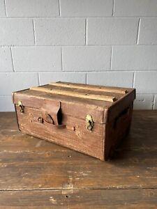 Vintage Canvas Steamer Travelling Trunk Chest Suitcase Brass Locks