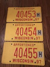 WISCONSIN 1997 APPORTIONED TRUCK LICENSE PLATES SET of 3 CONSECUTIVELY NUMBERED