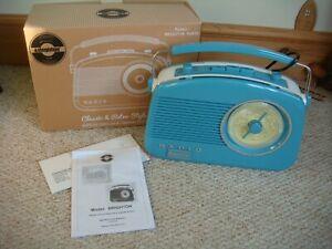 BNIB Steepletone Classic & Retro Style Blue Brighton Radio