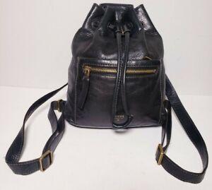 Fossil Vintage Black Leather Mini Bucket Backpack!