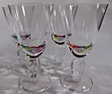 """Acrylic 7"""" Water Wine GOBLETS 12 ounce Stemmed Clear Faceted Unbreakable"""