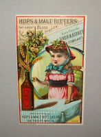 Old Antique Vtg Ca late 1800's Hops and Malt Bitters Advertising Trade Card Nice