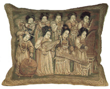 """16"""" x 19"""" Wool Needlepoint Chinese Silk Road Dunhuang Musician Ladies Pillow"""