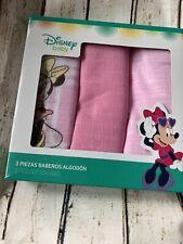 Disney Baby Girls Minnie Mouse Cloth Bibs Large Muslin Squares BNIB