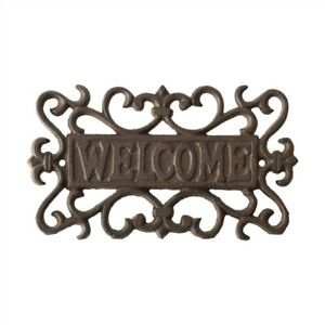 Welcome Sign Cast Iron Garden Door Gate Wall Plaque Heart Dark Brown 21 cm