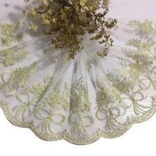 Gold Bowknot White Transparent Mesh Net Lace Edge Trim Fabric Handmake Craft DIY