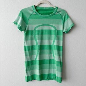 Lululemon Women's Sz 8 Run Swiftly Tech Short Sleeve Heathered Green Bean Top