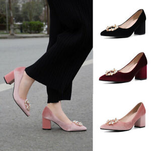 Velvet Ladies Block Heels Pointy Toe Pumps Beads Slip on Party Prom Shoes Size