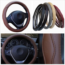 38cm Car Steering Wheel Cover Anti-slip PU Leather Embossed Four Seasons Brown