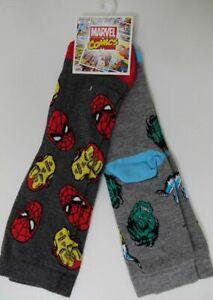 Boys Marvel Comics Avengers Socks Spiderman Hulk 2 Pack Grey Ankle UK 9-12 12-3