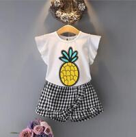 2pcs baby toddler girls summer outfits Tee+ short pants Kids cartoon clothes set