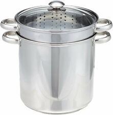 New listing Pasta Cooker Steam Pot Stainless Steam Steamer 12 Quart Cooking Spaghetti 4 Pcs