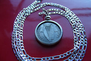 """1934 IRISH Lucky Finer Sixpence Pendant  26"""" 925 ITALIAN Sterling Silver Chain,"""