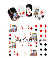 Nail Art Stickers water transfer-POKER-tattoo adesivo per unghie-Buy 3 Get 4 !!